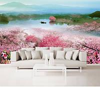 """3D фотообои """"Ступеньки в цветущих деревьях, ведущие к реке"""""""