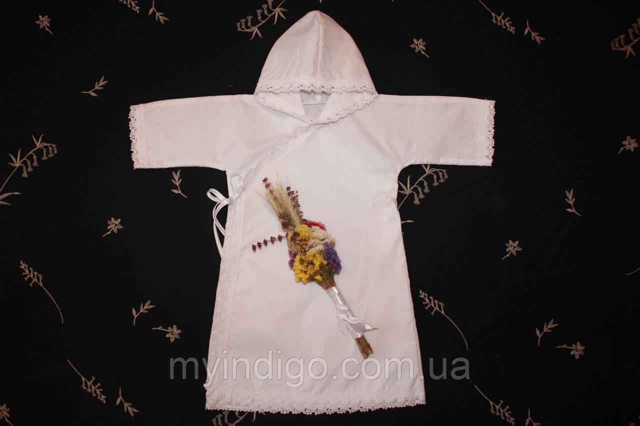"""Рубашка для крещения """" Прованс """" с капюшоном"""