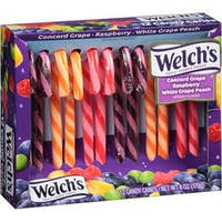 Welch's Concord Grape Holiday Raspberry & White Grape Peach Candy Canes Gift, 12 count, 6 oz