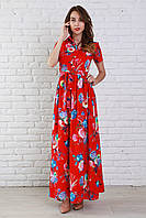 Красное платье в цветочный принт