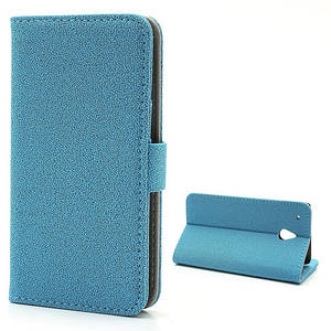 "Чехол книжка для HTC One Mini M4  ""текстурированная кожа"" боковой, голубой"