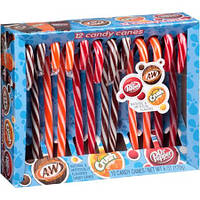 A&W Root Beer Holiday Orange Crush & Dr Pepper Flavored Candy Canes, 12 count, 6 o
