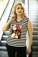 Женская летняя полосатая майка в больших размерах с рисунком f-1015634