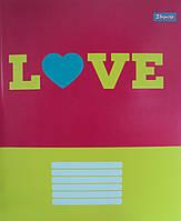 """Тетрадь школьная 18 листов/клетка """"Фоновая Love"""", 1 Вересня 678766"""