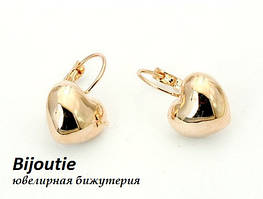 Сережки HEART GOLD ювелірна біжутерія золото 18К