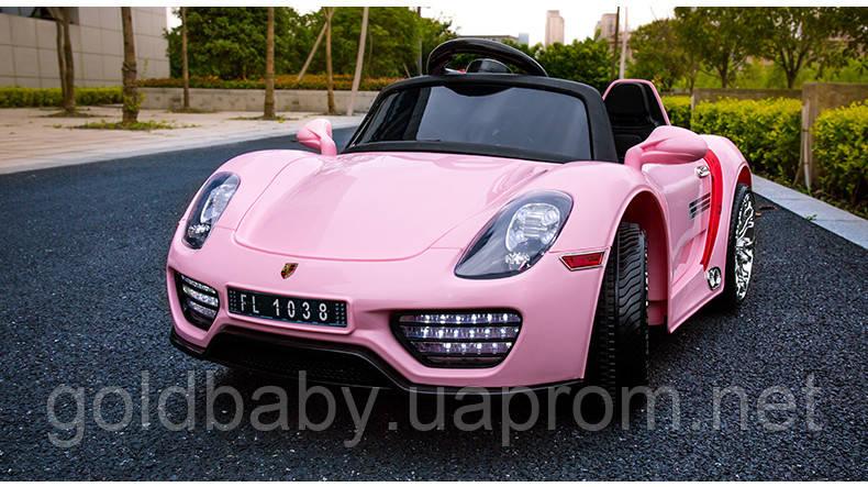 Детский электромобиль Porsche Spyder FT 1038+EVA колесах,розовый -  Gold-baby.
