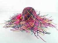 Соломенная шляпа женская Амазонка 60 см цветная,летние шляпы