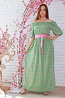 Красивое салатовое платье в цветочный принт