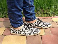 Мокасины женские летние эспадрильи бежевые с орнаментом (модные, женская обувь весна-лето)