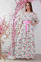 Ультра модное платье в пол с розовым поясом