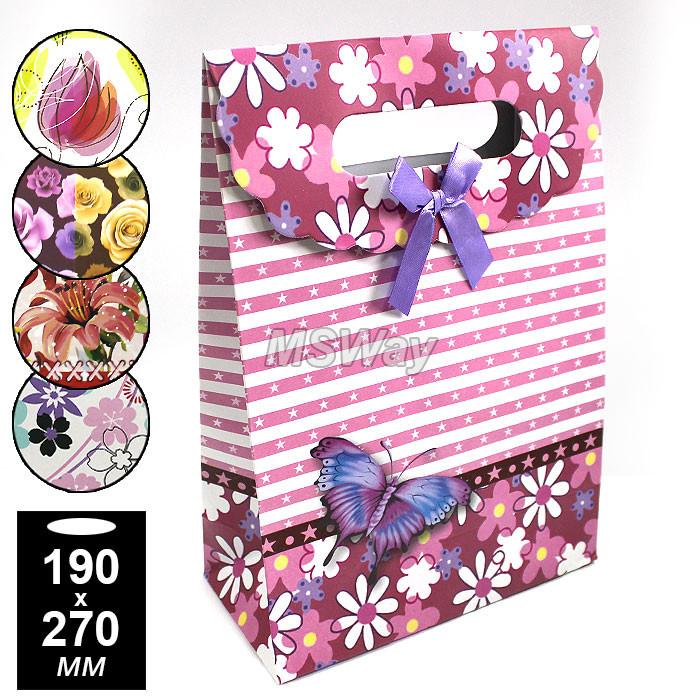 Пакет подарочный бант-липучка (средний) 190х270мм (цветной, цветы)