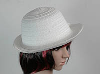 Соломенная шляпа женская Бебе 29 см белая,летние шляпы