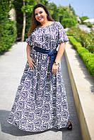 """Летнее длинное женское платье в больших размерах 8035 """"Штапель Турецкие Огурцы"""" в расцветках"""
