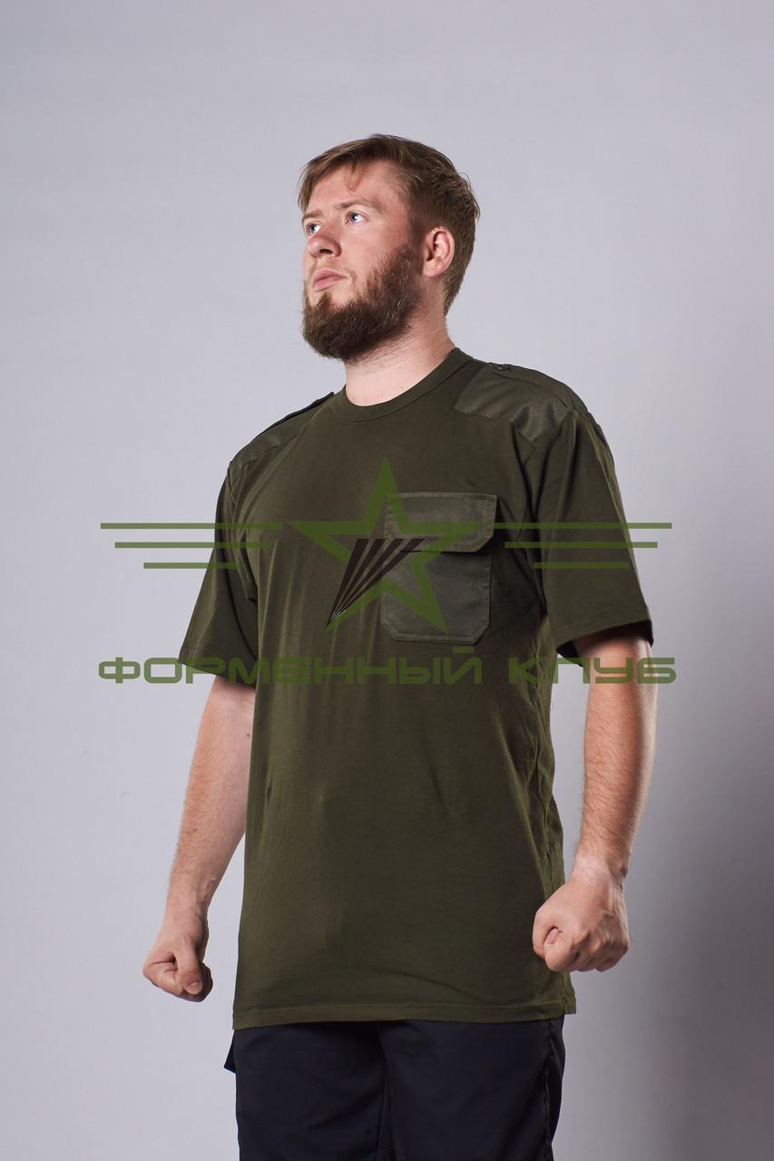 Футболка зеленая хаки с погонами и нагрудным карманом