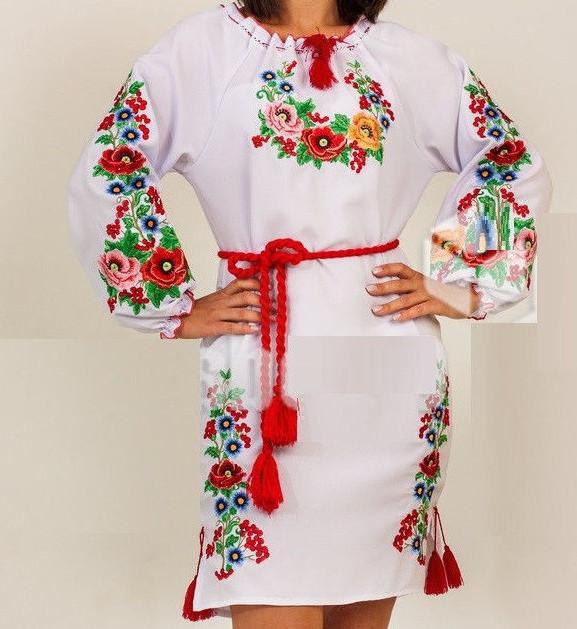 "Красивое вышитое платье ""Мальвы"", 40-50 р-ры, 630/580 (цена за 1 шт. + 50 гр.)"