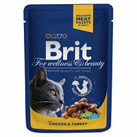 Brit Premium Cat Pouch с курицей и индейкой 100гр