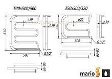 Полотенцесушитель водяной MARIO Фокстрот  350 х 600 с полочками (Mario), фото 3