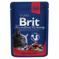 Brit Premium Cat Pouch с тушеной говядиной и горошком 100гр