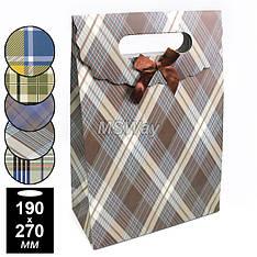 Пакет подарочный бант-липучка (средний) 190х270мм (цветная клетка)