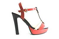Босоножки женские Dina Fabiani красный+беж из натуральной кожи на каблуке,женские босоножки