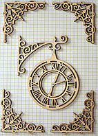 "Чипборд ""Уголки, часы"", набор,  15*10см., фанера 2,5 мм"