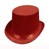 Карнавальная шляпа цилиндр красная,большая .