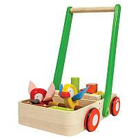 Plan Toys Деревянная игрушка Тележка-каталка с птицами