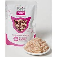Brit Care Cat (Брит Кеа Кэт) Кусочки в соусе с КУРИЦЕЙ и УТКОЙ для кошек (пауч),80гр
