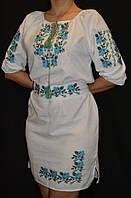 """Вышитое платье на домотканом полотне """"Розы"""", 42-50 р-ры, 800\700 (цена за 1 шт. + 100 гр.)"""