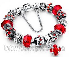 Браслет Pandora Пандора Шарм (реплика) Красный