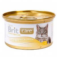 Brit Care (Брит Кеа) Chicken Breast & Cheese Консервы для кошек с куриной грудкой и сыром в соусе,80гр