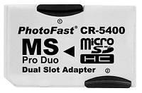 Адаптер карты памяти CR-5400, 2 MicroSD-Memory Stick PRO Duo, Белый /переходник микро сд про дуо