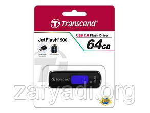 USB 2.0 Transcend Jetflash 500 64Gb Single-Channel, Черный /юсб флешка