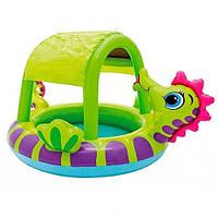 Детский надувной бассейн с навесом Морской конек 147 см Intex (57110)
