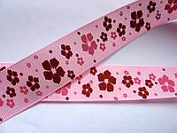 Лента репсовая с рисунком. Цветы на розовом фоне, 26 мм