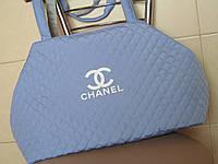 Модная стеганая сумка  из плащевки голубая