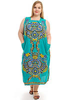 Женское зеленое платье с орнаментом
