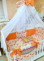 """Комплект постельного белья  """"Подводный мир"""" оранжевого цвета"""