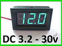 Цифровой вольтметр DC 3.2 - 30 вольт, зелёный, фото 1
