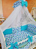 """Комплект постельного белья  """"Подводный мир"""" голубого цвета"""