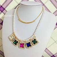 """Яркое и стильное ожерелье """"Зоряна"""", двойное."""