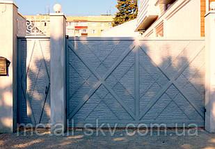 """Ворота кованые с жатым эффектом """"Мальта"""" светло серые"""
