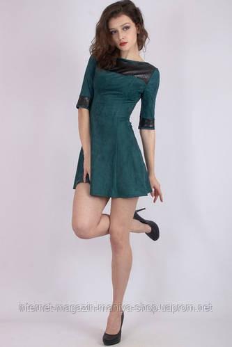 Платье женское, отделка кожа- перфорация