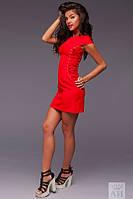 Платье Стильное креп коттоновое на шнуровке цвет красный