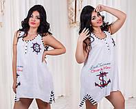 """Стильная летняя женская туника-платье в больших размерах 7595 """"Штурвал"""" в расцветках"""