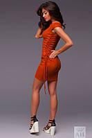 Платье Стильное замшевое на шнуровке цвет кирпич