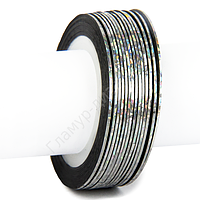 Лента-скотч для декора ногтей, серебро голограмма узкая