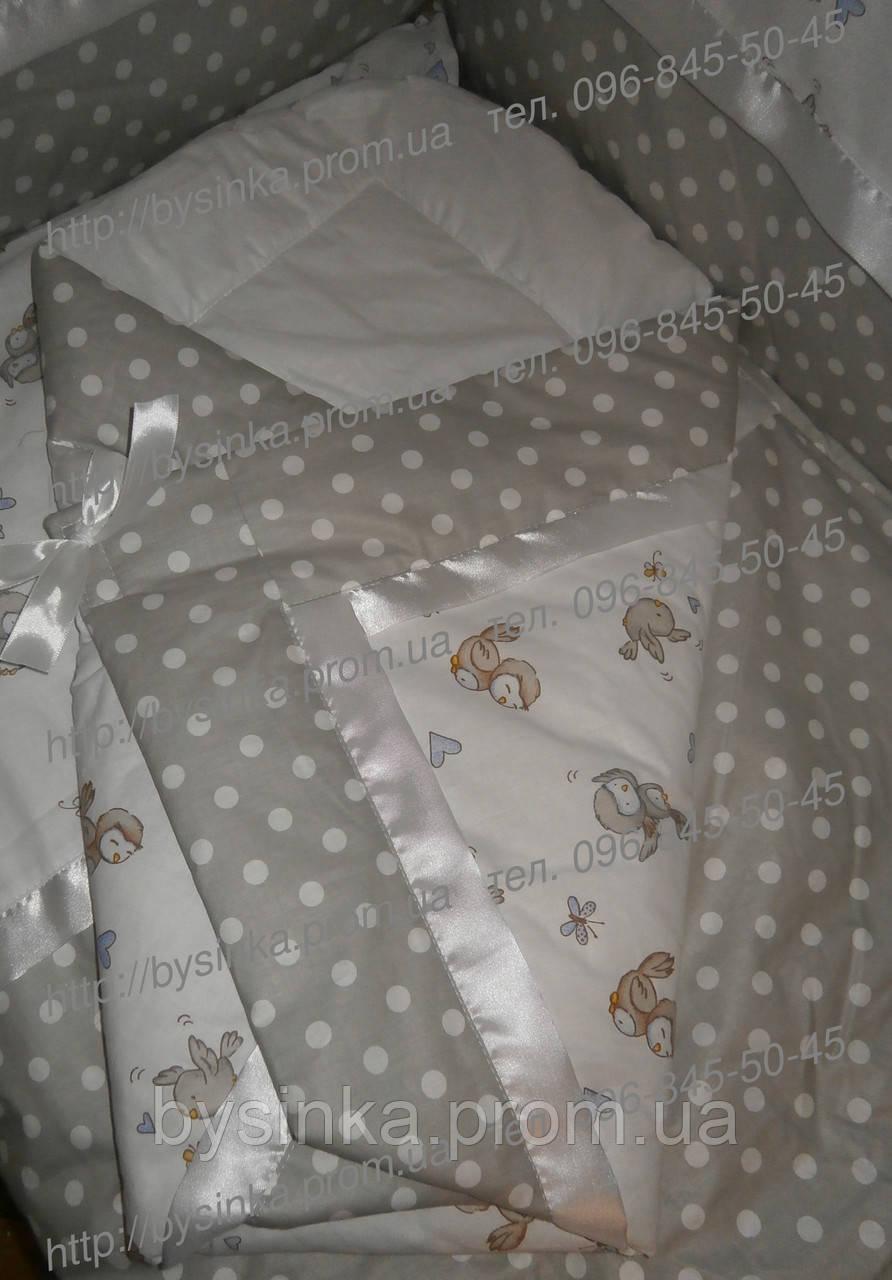 """Конверт на выписку, плед, одеяло на выписку новорожденного """"Птички"""","""