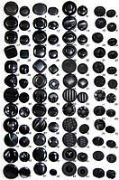 Пуговица пластиковая  черная  на ножке и на потайной ножке диаметр 24,18,16,15, и12 мм