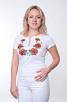 Женская футболка-вышиванка белая с маками